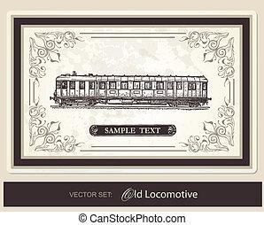 -, histórico, vetorial, jogo, trens