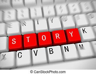 -, historia, 3d, palabra, teclado