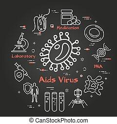 -, hiv, vektor, bakterie, svart, begrepp, virus, aids, ikon