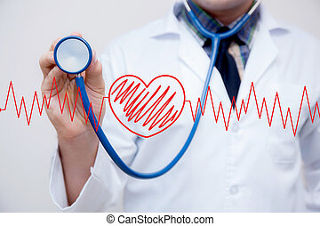 -, holdingshand, hart, grafiek, examination., medisch, deel, cardiogram, rood, stethoscope, concept