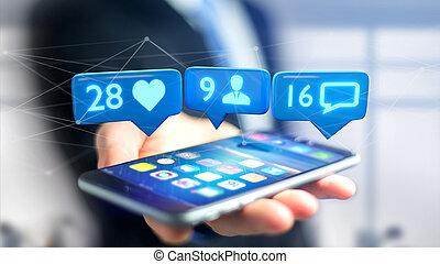 -, hombre de negocios, notificación, seguidor, render, social, smartphone, red, 3d, mensaje, como, utilizar