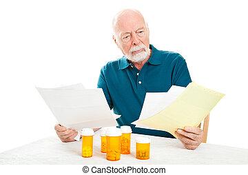 -, homme médical, personne agee, déprimé, factures