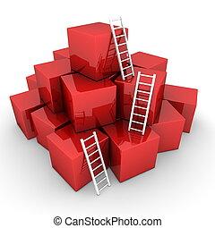 -, hop, uppe, stegar, lysande, rutor, klättra, glänsande, vit röd
