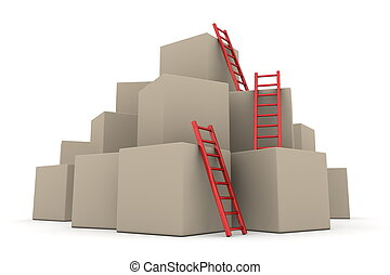 -, hop, uppe, stegar, rutor, glatt, klättra, röd