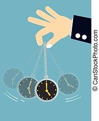 -, hypnose, oscillation, tenant main, concept, montre, poche, homme affaires