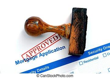 -, hypotheek, vorm, goedgekeurd