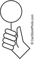 -, icône, bidder, contour, main