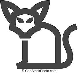 -, icône, chat, contour