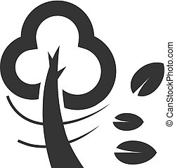-, icône, contour, arbre