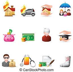 -, icônes, couleur assurance
