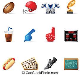 -, icônes, toile, football, américain