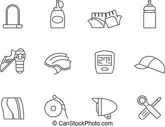 -, icônes, vélo, accessoires, contour