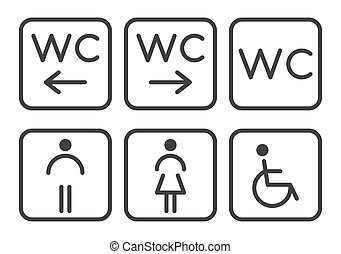 -, icônes, women., handicapé, nourrisson, toilette, hommes, ensemble