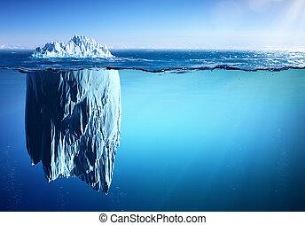 -, iceberg, flotar, mar, warming, global, concepto, apariencia