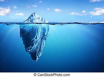 -, iceberg, warming, global, perigo, escondido, conceito