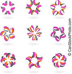 -, iconen, logos, abstract, verzameling, 2