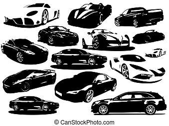 -, icono, colección, vector, coches