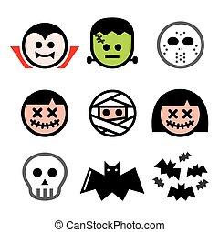 -, iconos, frankenstein, dracula, cráneo, momia, caracteres, conjunto, halloween, vector, diseño