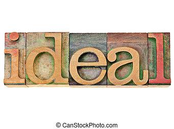 -, idéal, mot, letterpress, type