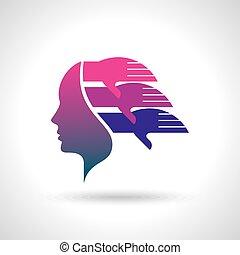 -, idées, illustration, échange
