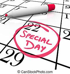 -, idő előtti, bekerített, dátum, naptár, nap, különleges