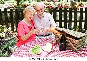 -, idősebb ember, piknik, párosít