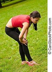 -, idrottskvinna, skada, smärta, knä