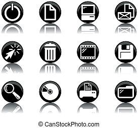 -, ikona, 2, dát, počítač