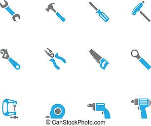 -, ikonok, duotone, eszközök, kéz