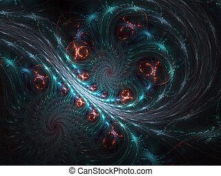 -, illusion, graphique, informatique, fractal, mouvement, spirale, résumé
