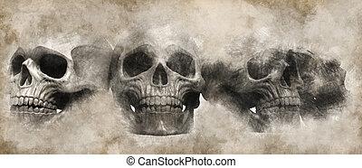 -, illustratie, boekrol, getrokken, schedels, perkament