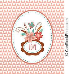 -, illustratie, vector, lijstjes, bloemen, kaart