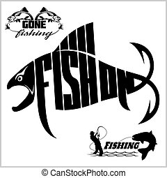 -, illustratie, vector, visserij, logo, liggen