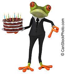 -, illustration, amusement, anniversaire, grenouille, gâteau, 3d