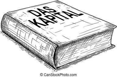 -, illustration, dessin, vecteur, artistique, das, marx, livre, karl, kapital