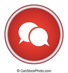 -, illustration, vecteur, bulle discours, rouges, icône