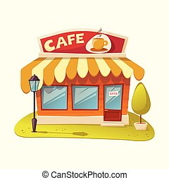 -, illustration, vecteur, cafe., façade, café