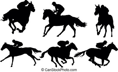 Galloping horse racing Clipart   k18543993   Fotosearch
