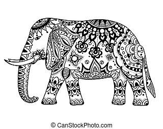 vector sketch indianische dekorierte elefanten. vector sketch cartoon indianische dekoriert