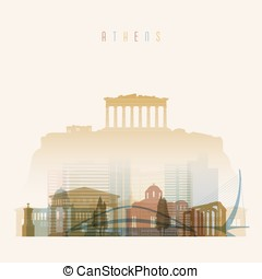 ?????? - Transparent style. Athens skyline detailed...