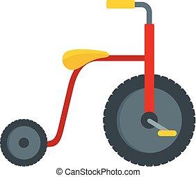 Flat rot kinder vier räder fahrrad icon, quadro roller. Flat