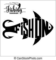 -, illustrazione, vettore, pesca, logotipo, casato