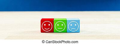 -, ils., trois, satisfaction, client, bois, dés, expressions, différent, couleur, concept, service