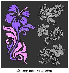 -, ilustração, experiência., vetorial, fêmea preta, floral,...