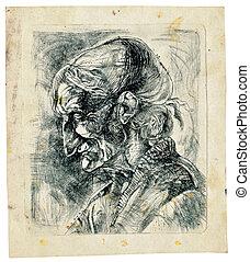 -, ilustração, mão, human, desenhado, rosto