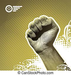 -, ilustração, mão, protesto, vetorial, sinal