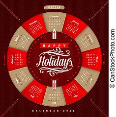 -, ilustração, vetorial, 2015, calendário, feriado, natal