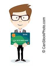 -, ilustração, vetorial, banco, segurando, cartão, homem