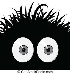 -, ilustração, vetorial, cômico, assustado, criatura