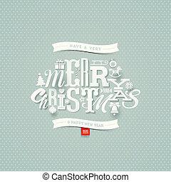 -, ilustração, vetorial, desenho, tipo, natal